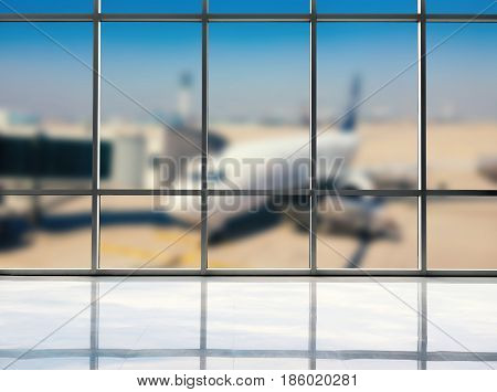 blank translucent studio with airport terminal background