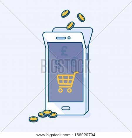 Vector illustration of mobile money balance replenishment and refill online service. Phone banking with coins save money. Online wallet shopping in cart store eCommerce. Business finance concept