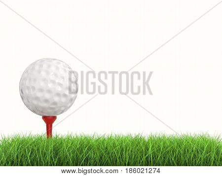 Golf Ball On Tee Side View