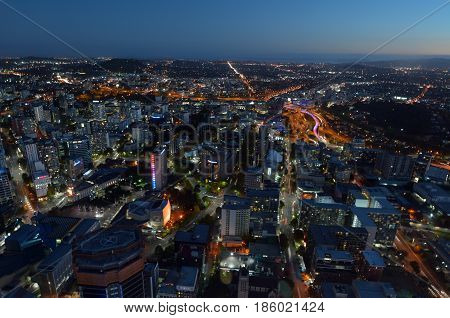 Aerial Landscape View Of Auckland City Cbd At Dusk