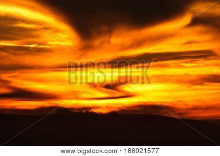 Spectacular weird sunset
