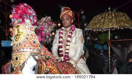 bridegroom on Mare wear Sherwani In Traditional Indian Wedding