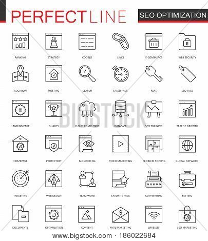Set of Vector SEO Search Engine Optimization thin line web icons set. Outline stroke icon design