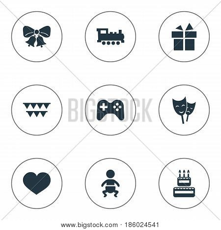 Vector Illustration Set Of Simple Birthday Icons. Elements Soul, Infant, Confectionery And Other Synonyms Ribbon, Actor And Confectionery.