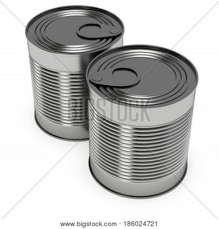 Aluminum can. 3D render of metal canned food isolated on white.