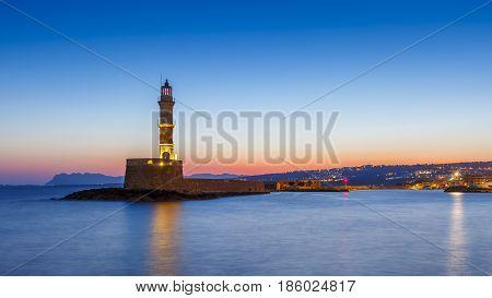 Old Venetian harbor of Chania town on Crete island, Greece.