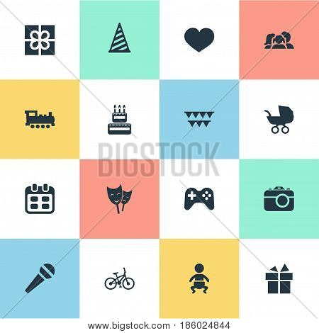 Vector Illustration Set Of Simple Birthday Icons. Elements Infant, Game, Speech And Other Synonyms Baby, Cap And Sport.