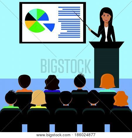Business woman in a suit gives a lecture presentation leads the seminar behind the podium. Training staff meeting report business school. Illustration in flat style.