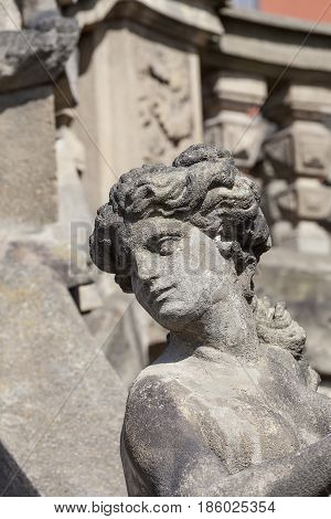 Troja Palace in sunny day details of sculpture at the entrance Prague Czech Republic Europe