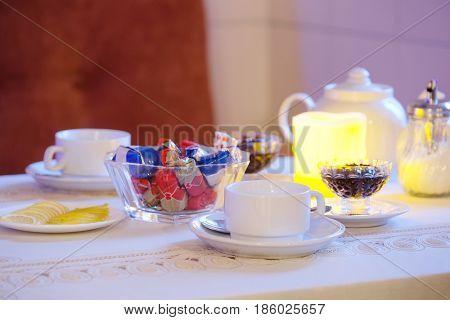 Tea set on a table