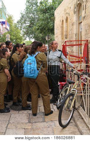JERUSALEM, ISRAEL - APRIL 30, 2017: Israeli soldiers at the Old City of Jerusalem.