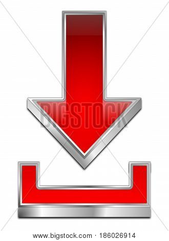 glossy red Download Symbol - 3D illustration