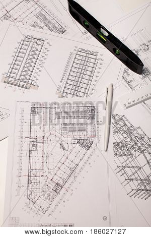 architectural project, architectural plan, construction plan, architectural background, straightedge, scale, ferule