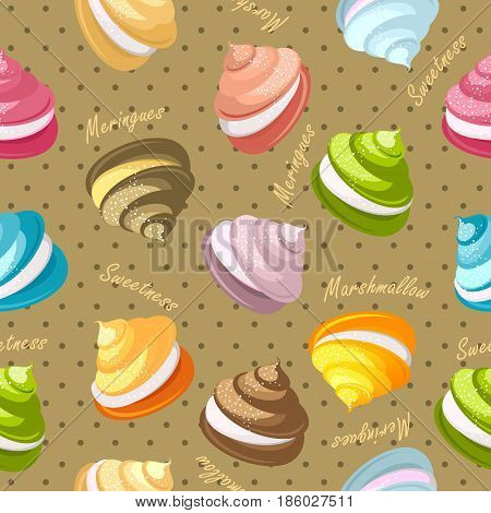Seamless pattern multicolored marshmallows meringue decorated with chocolate candies on a beige background with dots