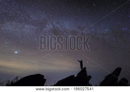 Man watching star in the most beautiful time