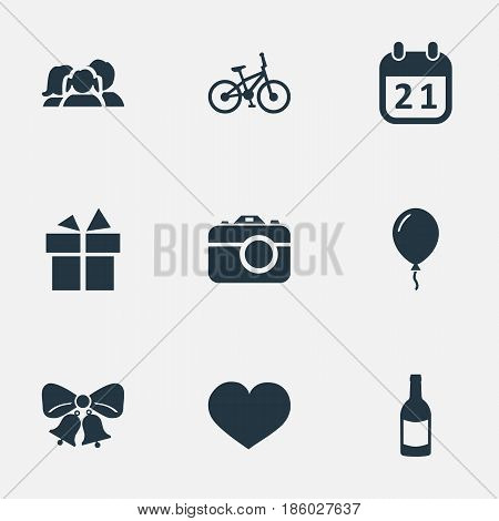 Vector Illustration Set Of Simple Birthday Icons. Elements Camera, Resonate, Soul And Other Synonyms Beverage, Ribbon And Champagne.