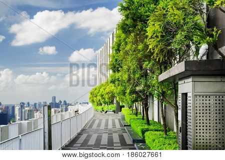 Rooftop Garden In Singapore. Outside Terrace With Amazing Park