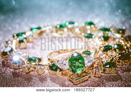 Golden Bracelet With Emerald Filtered
