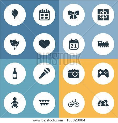 Vector Illustration Set Of Simple Holiday Icons. Elements Camera, Game, Bicycle And Other Synonyms Bicycle, Actor And Fizz.