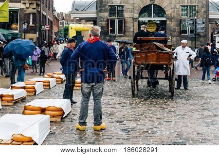 Gouda Netherlands - August 4 2016: Gouda Cheese Market. It remains a spectacle at the heart of Holland's cheese industry with its rituals and Dutch traditions now a must-see attraction.