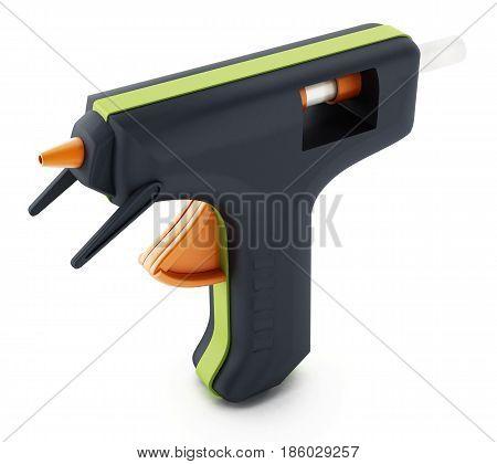Glue gun isolated on white background. 3D illustration.