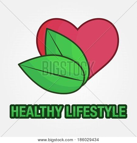 Healthy Lifestyle, heart and leaf Logo - vector eps 10