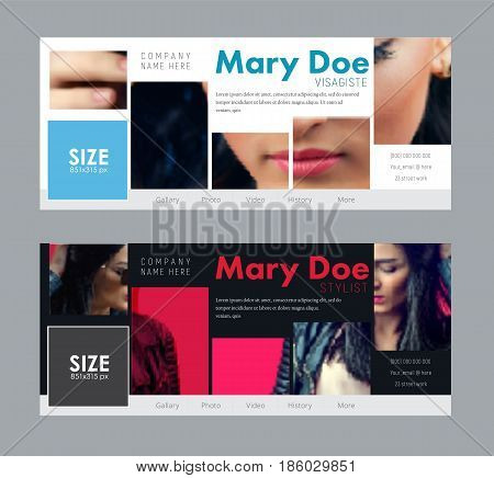 Design a standard size banner for social networks. Template cover for advertising make-up beauty salon cosmetics or clothing. Photo of sample mosaic