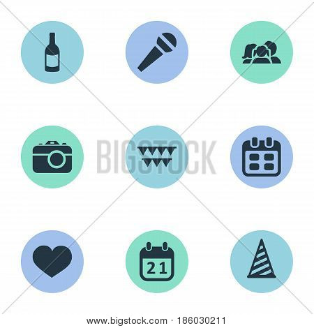 Vector Illustration Set Of Simple Birthday Icons. Elements Cap, Domestic, Camera And Other Synonyms History, People And Fizz.