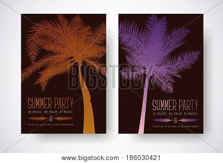 Design A Flyer For A Summer Party. Poster Template With Orange And Purple Palm And Text.