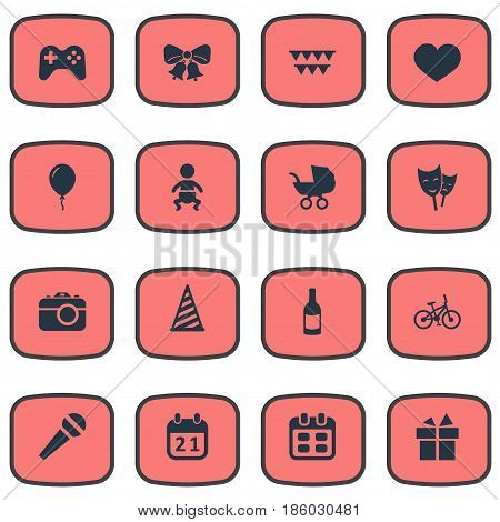 Vector Illustration Set Of Simple Holiday Icons. Elements Ribbon, Aerostat, Camera And Other Synonyms Day, Fizz And History.