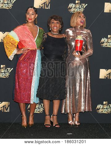 LOS ANGELES - MAY 7:  Tracee Ellis Ross, Maxine Waters, Taraji P. Henson at the MTV Movie and Television Awards on the Shrine Auditorium on May 7, 2017 in Los Angeles, CA
