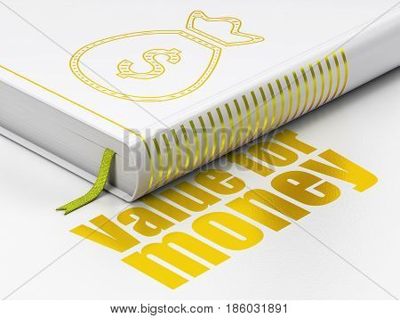 Banking concept: closed book with Gold Money Bag icon and text Value For Money on floor, white background, 3D rendering