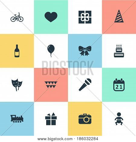 Vector Illustration Set Of Simple Celebration Icons. Elements Camera, Confectionery, Cap And Other Synonyms Photography, Kid And Ribbon.