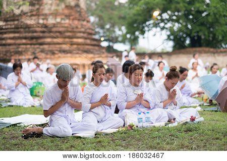 Ayutthaya - Thailand : 10 May 2017 - Buddhist Traditionally Visakabucha Day, Thai People Come To Pra