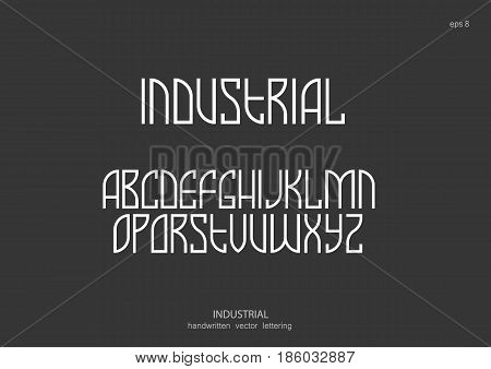 Vector alphabet set. Capital letters in the Art Nouveau style Egyptian graphics retro industrial. White letters on black background.