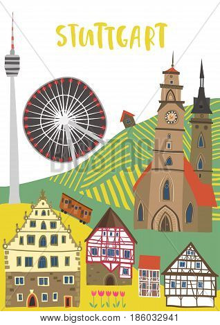 Hand-drawn illustration of Stuttgart landmarks: Monastery church Schiller square half-timbered houses Cannstatt Ferris wheel TV tower. For souvenirs postcards magnets. Baden-Wurttemberg Germany