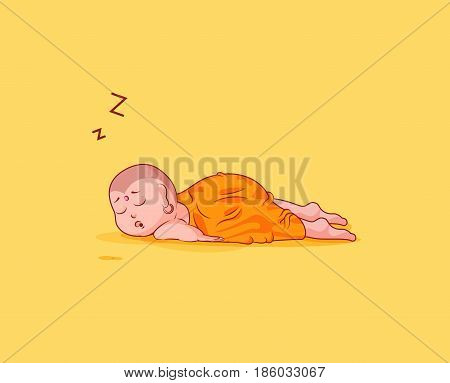 Sticker emoji emoticon emotion vector isolated illustration drowsy somnolent character cartoon Buddha sleeps on the stomach sticker Buddhist monk kashaya yellow background for mobile app info graphics.