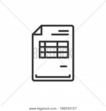 Invoice document line icon outline vector sign linear style pictogram isolated on white. Symbol logo illustration. Editable stroke. Pixel perfect