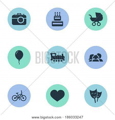 Vector Illustration Set Of Simple Birthday Icons. Elements Confectionery, Domestic, Camera And Other Synonyms Stroller, Train And Domestic.