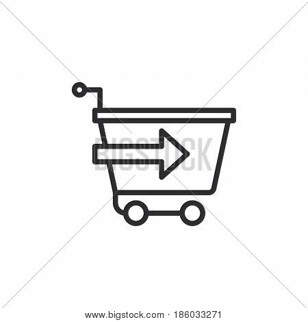 Shopping cart with arrow checkout line icon outline vector sign linear style pictogram isolated on white. Symbol logo illustration. Editable stroke. Pixel perfect