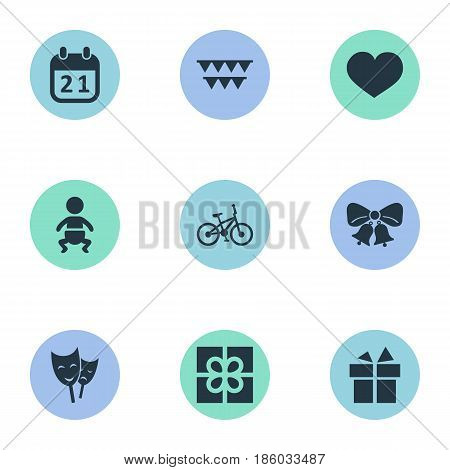 Vector Illustration Set Of Simple Celebration Icons. Elements Resonate, Special Day, Box And Other Synonyms Box, Infant And Resonate.