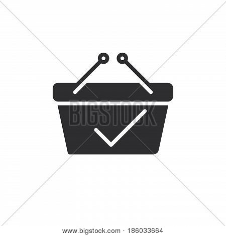 Shopping basket with check mark icon vector filled flat sign solid pictogram isolated on white. Paid symbol logo illustration. Pixel perfect