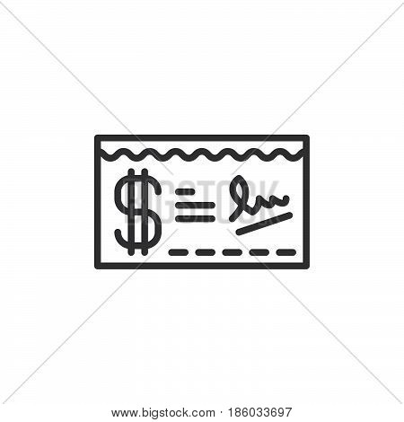 Paycheck line icon outline vector sign linear style pictogram isolated on white. Symbol logo illustration. Editable stroke. Pixel perfect