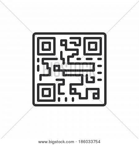 QR code line icon outline vector sign linear style pictogram isolated on white. Symbol logo illustration. Editable stroke. Pixel perfect