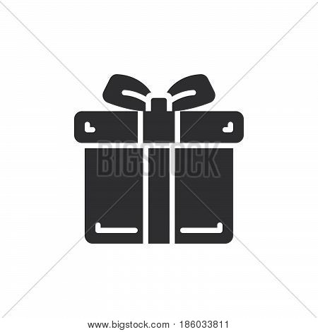 Gift box icon vector filled flat sign solid pictogram isolated on white. Present symbol logo illustration. Pixel perfect