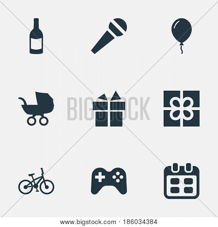 Vector Illustration Set Of Simple Celebration Icons. Elements Aerostat, Baby Carriage, Box And Other Synonyms Present, Joystick And Fizz.