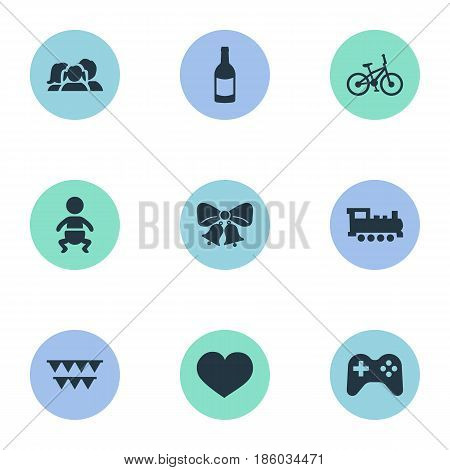Vector Illustration Set Of Simple Celebration Icons. Elements Soul, Resonate, Game And Other Synonyms Kid, Resonate And Party.