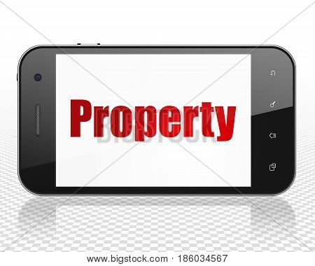 Finance concept: Smartphone with red text Property on display, 3D rendering