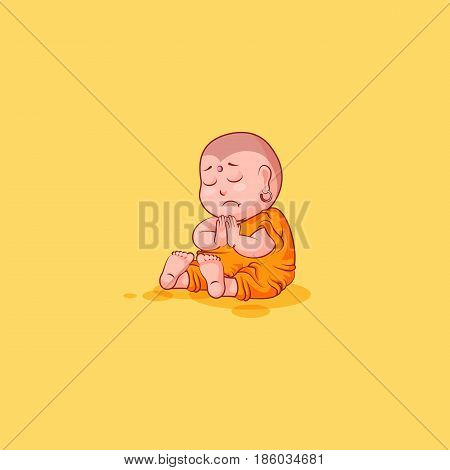 Sticker emoji emoticon emotion vector isolated illustration unhappy character cartoon Buddha sit sad sorrow grief frustrated sticker Buddhist monk kashaya yellow background for mobile app infographic.