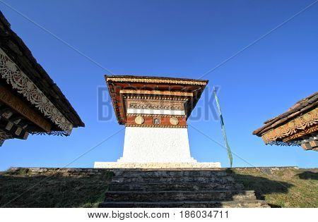 The top of 108 chortens (stupas) the memorial in honour of the Bhutanese soldiers at Dochula Pass on the road from Thimphu to Punaka Bhutan
